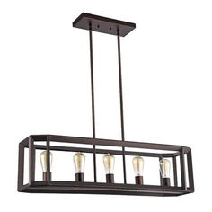 Features:  -Includes 2 rods for height adjustment.  -Shown with medium base filament style bulbs (not included).  -Boxed collection.  Product Type: -Kitchen island pendant.  Style (Old): -Industrial.