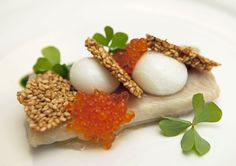 Linton Hopkins's smoked trout with buttermilk, trout roe, and benne - January 31 (Photo by Bobbi Lin)