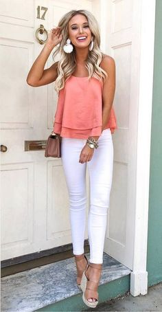 40 Most Popular Casual Outfit Ideas for Summer 2019 - Alles über Damenmode Sunday Outfits, Mode Outfits, Fashion Outfits, Young Mom Outfits, Jeans Fashion, School Outfits, Trendy Summer Outfits, Spring Outfits, White Jeans Outfit Summer