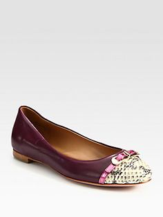 Elie Tahari Gwen Two-Tone Leather and Snake-embossed Leather Ballet Flats