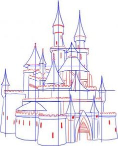 how to draw a medieval castle step 3