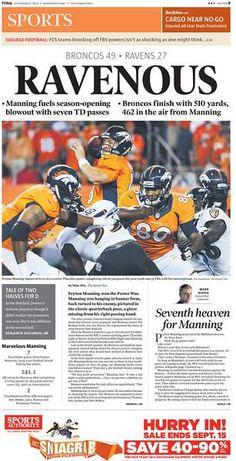 Peyton throws 7 TD passes, as the Broncos smash the Ravens, 49-27!
