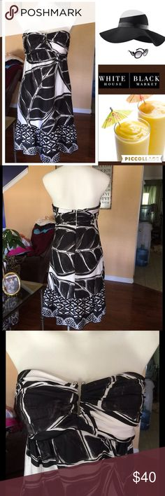 """Tropical print WHBM strapless size 4 Get ready for vaca🏖👙🕶 in this beautiful black and white strapless 100% silk dress. Rubber no slip trip in top with built in bra. Fully lined in polyester. Front of top has a silver metal """"u"""" shaped cleavage as seen in pic. Gently worn. No rip stains or tears. White House Black Market Dresses Strapless"""