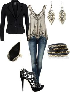Gray and Black- Girls' Night Out I'd add something teal - Fashion Jot- Latest Trends of Fashion