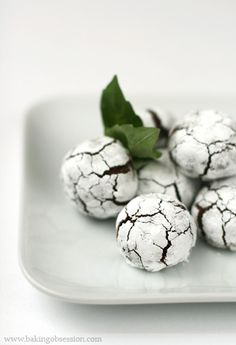Chocolate Basil Crinkles   you can chose a different flavoring for the cookies - mint, coffee, orange zest, cinnamon/cayenne