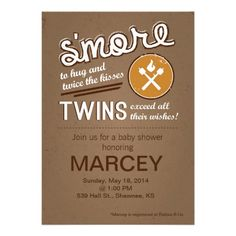 S'mores Baby Shower Invitation - Twin Baby Shower. Customize and order online.