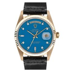 "ROLEX ""Stella"" Diamond Blue Dial Yellow Gold DAY-DATE  Switzerland  1970's"