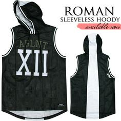 ROMAN SLEEVELESS BLACK S-XXL  49.95 This versatile basketball inspired  sleeveless hoodie can be worn to the gym or out. d4fc85d20c