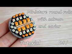 Miniature round rolls with salmon and caviar.Tutorial. Polymer clay.Круглые роллы с лососем и икрой. - YouTube