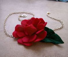 Red Rose Neckace Felt Flower Handmade | akaCINDERS - Jewelry on ArtFire
