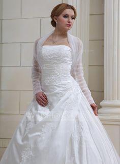 Lange Ärmel Tüll Hochzeit Bolero (013022585) - JJsHouse