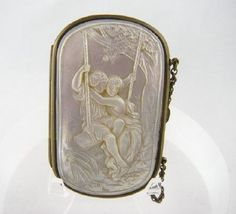 Antique Carved Mother of Pearl Coin Purse