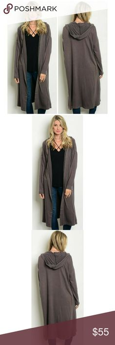 NEW! Charcoal Hooded Longline Cardigan Sweater Super Comfy & Chic   Gorgeous Charcoal Color  Long Sleeve • Hooded • Open Front • Longline • Cardigan Sweater  100% Cotton  Sizes: S, M, L, XL   ▪ Price Is Firm  ▪ No Trades Moda Ragazza Sweaters