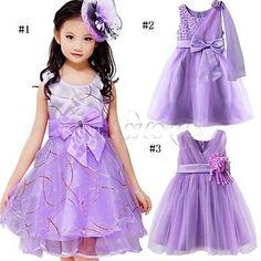 015541292d09b VIOLET Enfant Fille Princesse Robe Tenue de soirée MARIAGE CEREMONIE  BAPTEME in Vêtements
