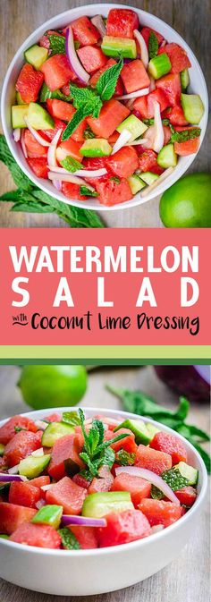 Salad with Coconut Lime Dressing This simple and refreshing Watermelon Salad coated with Coconut Lime Dressing is the perfect way to celebrate summer. Paleo, and Gluten-Free.Celebrate Celebrate may refer to: Summer Salad Recipes, Summer Salads, Watermelon Salad Recipes, Summer Food, Watermelon Soup, Summertime Salads, Healthy Salads, Healthy Eating, Fruit Salads