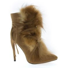 These foxy high heel dress booties is pleasing to the eyes and delightful to wear. The heel measures 4.5 inches high and a ankle high shaft. The fur is made of synthetic fiber and lace wrap. (Please n
