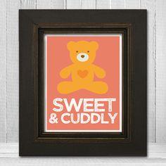 Custom Color Nursery Print 8x10 - Teddy Bear Kids Art - Sweet & Cuddly - Choose Background Color. $20.00, via Etsy.