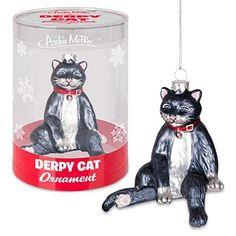 Derpy Cat Ornament. #Christmas #NewYear #Ornament #Decor #giftidea #Gift #gosstudio .★ We recommend Gift Shop: http://www.zazzle.com/vintagestylestudio ★