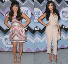 While their Glee cohort Lea Michele was all about the bright and bold at the 2013 TCA Winter Press Tour – FOX All-Star Party, Jenna Ushkowitz and Naya Rivera played it neutrally cool in nude tones on the red carpet. Jenna added a slight bit of color to her nude look, the salmon chevron striping …