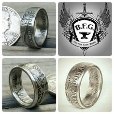 Silver half dollar coin rings.. etsy.com/shop/BFGCustomCoinRings