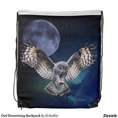 """Owl and Blue Moon Drawstring Backpack. 100% polyester. Dimensions: 14.75"""" x 17.3""""."""
