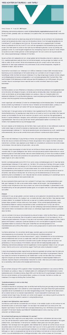 """Interview met Davied van Berlo - Binnenlands Bestuur: """"Weg achter dat bureau - aan tafel!"""" Google Chrome, Columns, Interview, Words, Blog, Desk, Horse"""