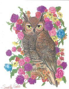 'Vintage Owl & Flowers' by Samantha Violette