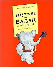 """The Story of Babar"", by Jean de Brunhoff.  For those poor few who do not know, Babar was a baby African elephant whose mother was killed by a Big Game hunter.  He ended up somehow in Paris where he was adopted by a Little Old Lady who taught him to wear clothes, speak French, and become a civilized young gentleman.  A wonderful, wonderful story."