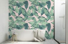 When it comes to latest interior trends, you will never go wrong with this Pink and Green Tropical Wallpaper. Geometric Shapes Wallpaper, Palm Leaf Wallpaper, Tropical Wallpaper, Pink Wallpaper, Lime Green Bathrooms, Tropical Bathroom, Bathroom Wallpaper Trends, Trendy Wallpaper, Bedroom Wallpaper