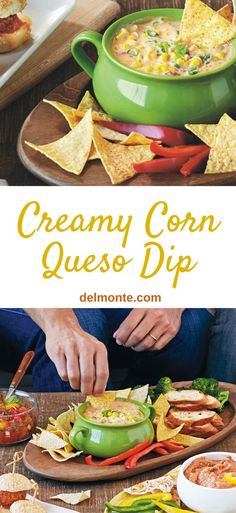 Creamy Corn Queso Dip - This five-ingredient hot cheese party dip combines the goodness of corn with tomatoes and chilies. Perfect with tortilla chips or vegetables. Great Super Bowl / Game Day recipe. Ready in 15 minutes!