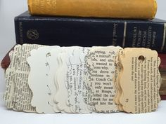 21 Uses For Old Books gift tags out of book pages. Add a center paper for clean space to write? The post 21 Uses For Old Books appeared first on Paper Ideas. Old Book Crafts, Book Page Crafts, Book Page Art, Old Book Pages, Old Books, Craft Books, Old Book Art, Altered Books Pages, Vintage Book Art
