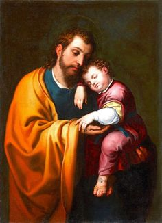 Bartolomé González y Serrano  (1564-1627)  — Saint Joseph with the Child Jesus, 17th Century  (722x1000)