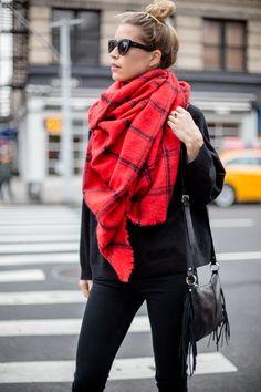 Red Blanket Scarf Look