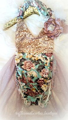 Aqua, Dusty Mauve & Gold Floral Tutu Romper - Vintage Floral Romper - Smash Cake - 1st Birthday - Second Birthday - Princess - Sparkle - Gold sparkle