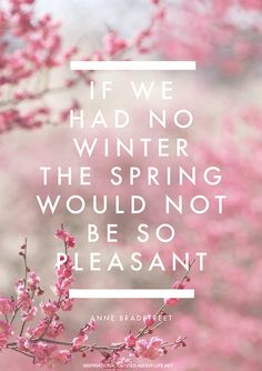 If we had no winter the spring would not be so pleasant. ~Anne Bradstreet
