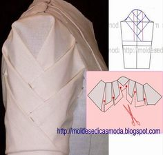 50 ideas origami fashion diy for 2019 Moda Origami, Diy Origami, Sleeves Designs For Dresses, Sleeve Designs, Techniques Couture, Sewing Techniques, Dress Sewing Patterns, Clothing Patterns, Fashion Sewing