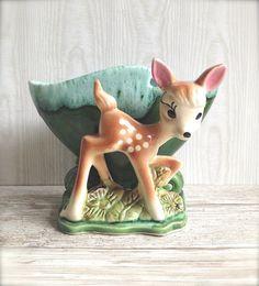 Vintage Ceramic Deer Spotted Fawn Planter Aqua Pink