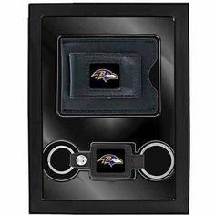 Aminco 2-Piece Leather Valet Gift Set, Ravens, Black
