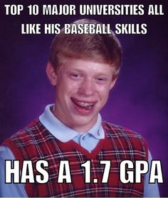 You have to get those grades right unless you're planning on being drafted out of high school.  #AllTeamz  the largest directory of #youth teams online. Add your league or organization today! #sports #youthsports #baseball #football #basketball #swimming #hockey #soccer #fastpitch #softball #fieldhockey #lacrosse #volleyball #cheerleading #gymnastics #futbol #trackandfield