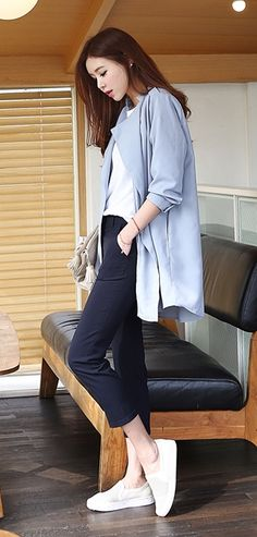 SS New Arrivals Korean Fashion Simple l casual: navy pants, white top, light blue coat, white sneakers Korea Spring Fashion, Korean Fashion Winter, Korean Fashion Dress, Spring Fashion Casual, Korean Fashion Casual, Korean Outfits, Trendy Fashion, Fashion Outfits, Fashion Trends
