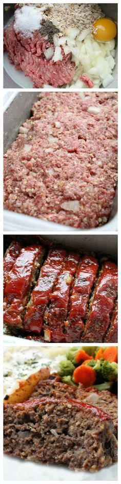 1 1/2 lbs Ground beef. 1/2 cup Onion. 1 Egg. 3/4 cup Quick oatmeal. 1/3 cup Ketchup. 1 tbsp Mustard. 2 tbsp Brown sugar. 1/4 tsp Pepper. 1 1/4 tsp Salt. 3/4 cup Milk.