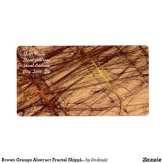 Brown Grunge Abstract Fractal Shipping Label