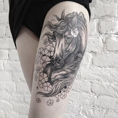 horse thigh tattoo - 40 Awesome Horse Tattoos  <3 <3