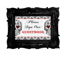 sugar skull guestbook wedding or party sign décor red and black rockabilly day of the dead skulls tattoo wedding ideas