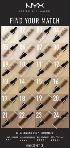 Make sure to try out NYX Cosmetics 'Total Control Drop Foundation', available in 24 velvet matte shades - coverage ranging from sheer to full coverage.