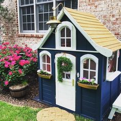 We invite you to pay attention to these suggestions, pin the toddler garden playhouse ideas you like best and start planning the surprise you know your child will most likely love and make use of for a long time. Costco Playhouse, Toddler Playhouse, Backyard Playhouse, Build A Playhouse, Playhouse Outdoor, Playhouse Ideas, Playhouse Decor, Outdoor Sheds, Painted Playhouse