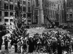 The first Rockefeller Center Christmas tree went up in 1931, while the site was still under construction.