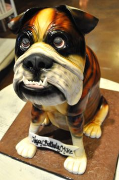 Carved Bulldog Birthday Cake Sugar Bee Sweets Bakery www.sugarbeesweets.com Party Cakes, French Bulldog, Bakery, Bee, Birthday Cake, Sweets, Carving, Sugar, Dogs
