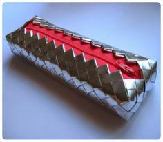 #patrirocks #candywrapper #diy #handmade #coral #silver #pencilcase
