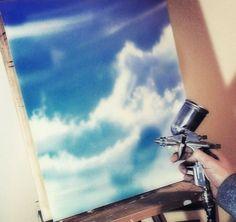 Deckenbemalung als Himmel http://www.malerische-wohnideen.de/blog/deckenmalerei-als-himmel-in-airbrush-technik-deckengestaltung-himmelmalerei-790.html
